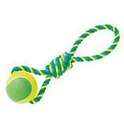 Zabawka dla zwierząt Nobby Rope Toy XXL 12cm piłeczka tenisowa na sznurku Niebieska/Żółta/Zielona