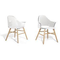 Krzeslo przezroczysto-biale - Krzeslo do jadalni, do salonu - krzeslo kubelkowe - BOSTON