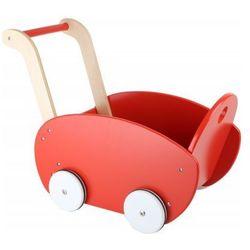 Wózek drewniany dla lalek - Czerwony