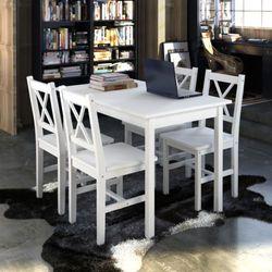 vidaXL Drewniany stół z 4 krzesłami, biały Darmowa wysyłka i zwroty