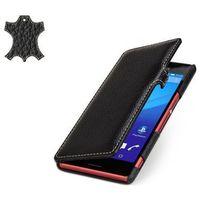 Skórzane etui Stilgut UltraSlim Book Sony Xperia M4 Aqua Czarne - Czarny