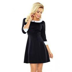 5468b9e293 suknie sukienki niebieska jeansowa sukienka z bialym dokladanym ...