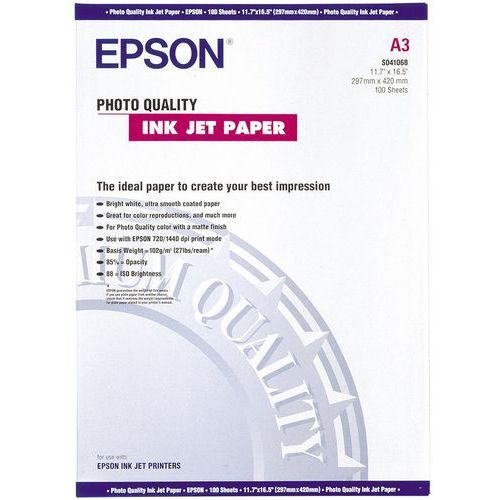 Epson C13S041068 Photo Quality Ink Jet Paper, DIN A3, 102 g/m2, 100 arkuszy
