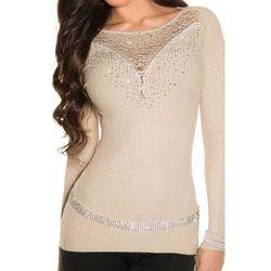 Sweter z kryształkami i koronką | Swetry damskie