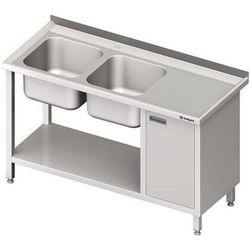 Stół ze zlewem dwukomorowym z szafką i półką STALGAST 1700x600x850 lewy