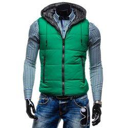 Zielony bezrękawnik męski z kapturem Denley 009 - ZIELONY Swetry 79.99 (-11%)