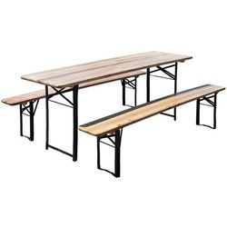 Stół ogrodowy HOME&GARDEN piwny z 2 ławkami (200 x 60 cm)