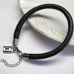 Brązowy rzemień metal i elementy posrebrzane-bransoleta