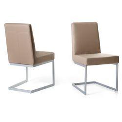 Krzeslo café latte - tapicerowane - do jadalni - do kuchni - srebrna rama - ARCTIC