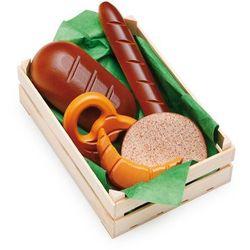 Zestaw drewnianych bagietek i precli do zabawy w sklep - zabawki dla dzieci