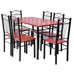 vidaXL Stół oraz krzesła do jadalni rdzawo czerwone 6 szt. Darmowa wysyłka i zwroty