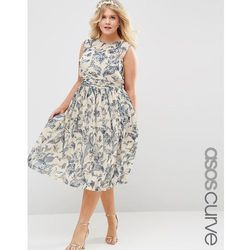 ASOS CURVE WEDDING Midi Dress with Ruched Panel in Print - Multi