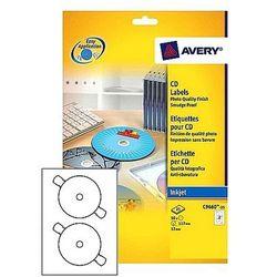 Etykiety samoprzylepne na płyty CD/DVD białe błyszczące Avery Zweckform L9669-25