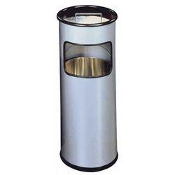 DURABLE Kosz na śmieci, metalowy, okrągły, z popielnicą 17l, srebrny