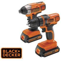 BLACK&DECKER Zestaw wiertarko-wkrętarka oraz zakrętarka udarowa 18 V (BDCDDIM18B-QW)