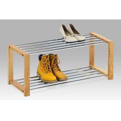 Półka na buty, 2 piętra, naturalne drewno