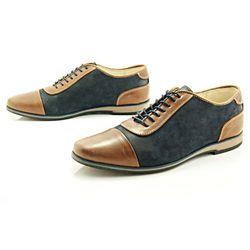KENT 262 BRĄZ-GRANAT - Stylowe buty męskie casual ze skóry