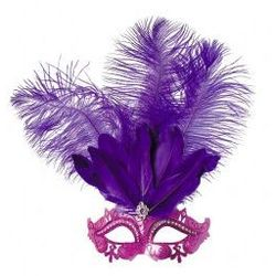 Maska z piórami Violetta fiolet