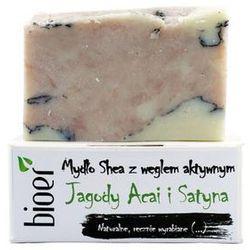 Bioer Mydło z masłem Shea z węglem aktywnym - Jagody Acai i Satyna
