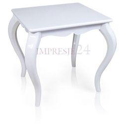 Drewniany stolik kawowy, gięte nogi, kolor biały, wysoki połysk.