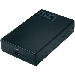Przejściówka USB, DVI, Digitus DA-70834, [1x zł. żeńskie mini-USB 2.0 B => 1x zł. żeńskie DVI 29-pin], Czarny, złącze: prosty