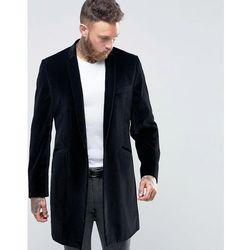 Hart Hollywood by Nick Hart Smart Overcoat In Velvet - Black