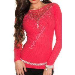Koralowy sweter z kryształkami i koronką | Swetry damskie