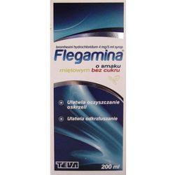 Flegamina o sm. miętowym bez cukru syrop 4 mg/5ml 200 ml (butelka)