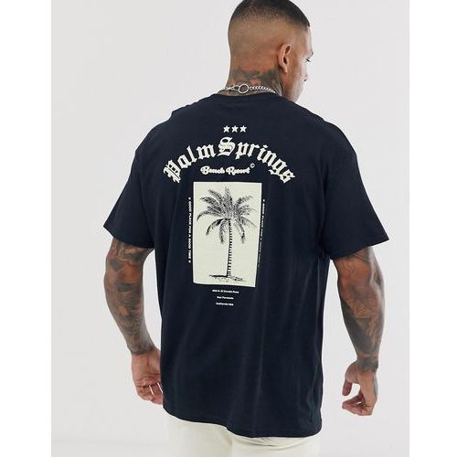 bd503e552 boohooMAN oversized t-shirt with Palm Springs back print in black - Black