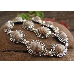 ROBERTA - srebrna bransoletka z krzemieniem pasiastym
