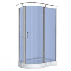 KERRA NERO Kabina prysznicowa jednoskrzydłowa 120x90 PRAWA + brodzik, profile chrom, szkło niebieskie