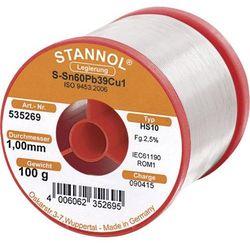 Cyna lutownicza z ołowiem Stannol 535269 Sn60Pb39Cu1 1.0 mm 100 g