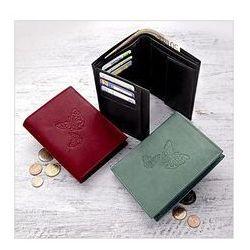 Skórzany portfel damski ''Motyl'', czarny