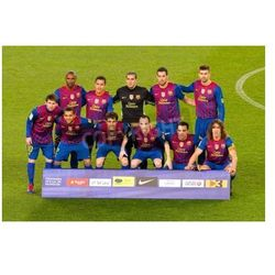 Fototapeta BARCELONA - 25 stycznia 2012: FC Barcelona graczy składzie przed meczem Pucharu Hiszpanii pomiędzy FC Barcelona