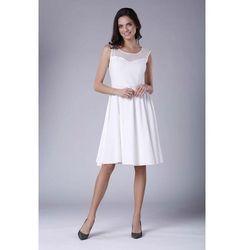 64cac226bc suknie sukienki modna rozkloszowana sukienka ecru kwiaty midi ...