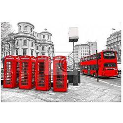 Plakat Czerwone budki telefoniczne i piętrowy autobus, Londyn, UK.