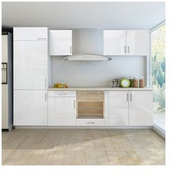 Meble kuchenne białe na wysoki połysk 7 części z zabudową pod lodówkę (270 cm) Zapisz się do naszego Newslettera i odbierz voucher 20 PLN na zakupy w VidaXL!
