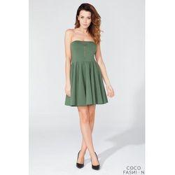 Zielona Imprezowa Sukienka Gorsetowa z Suwakiem