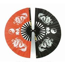 Wachlarz do Kung Fu - Dragon with Ying Yang design black (GTTD464BS)