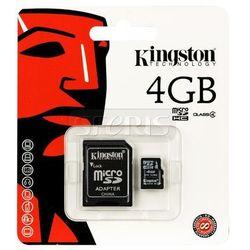 Karta pamięci Kingston Secure Digital Micro SDC4 Class 4 + Adapter mikroSD-SD 4GB - SDC4/4GB