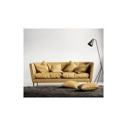Foto naklejka samoprzylepna 100 x 100 cm - Pomarańczowo skórzane kanapy w świeżym stylu wnętrza współczesnej