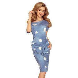 6f876ef348 suknie sukienki elegancka sukienka w duze biale grochy z dlugim ...