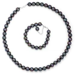 Komplet Srebrny Czarne Perły 925 GRAWER PER11