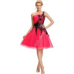 Sukienka z gipiurową koronką, fuksja | sukienki na wesela, dla druhen, sukienki na studiówkę
