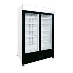 Szafa ekspozycyjna chłodnicza z poświetlanym panelem 920L Edenox - drzwi przesuwne, czarny front