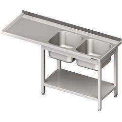 Stół ze zlewem dwukomorowym i miejscem na urządzenie STALGAST 2400x700x900 prawy