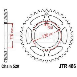 Zębatka tylna stalowa JT 486-42, 42Z, rozmiar 520 2300597 Kawasaki EL 250