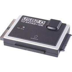 Przejściówka adapter do dysków twardych Renkforce USB 2.0, wtyk USB A <=> SATA/IDE, czarny