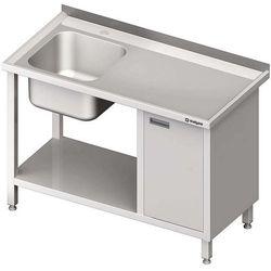 Stół ze zlewem jednokomorowym z szafką i półką STALGAST 1500x600x850 lewy