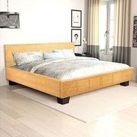 vidaXL Ręcznie tkane rattanowe łóżko 140 x 200 cm Darmowa wysyłka i zwroty